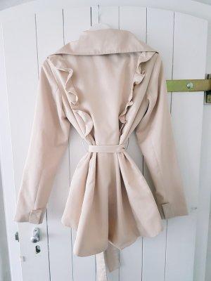 Mantel Jacke beige nude creme Volants M