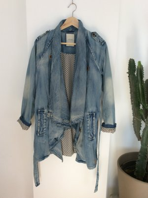 Mantel Jacke Trench Jeans