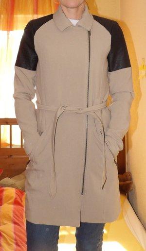 Mantel Jacke Vero Moda Gr. 34 XS Lederteil Übergang Trenchcoat