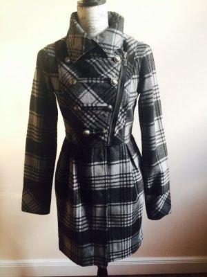 Mantel kariert schwarz-grau