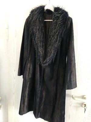 Martine Sitbon Cappotto in eco pelliccia marrone scuro-blu scuro