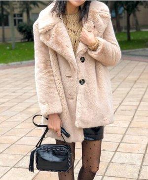 Zara Fake Fur Coat multicolored polyester