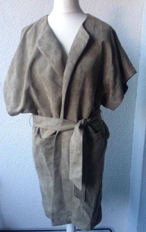 Mantel Kurzarm Jacke Wildlederimitat Gr. XS beige-grau neu *ausverkauft*