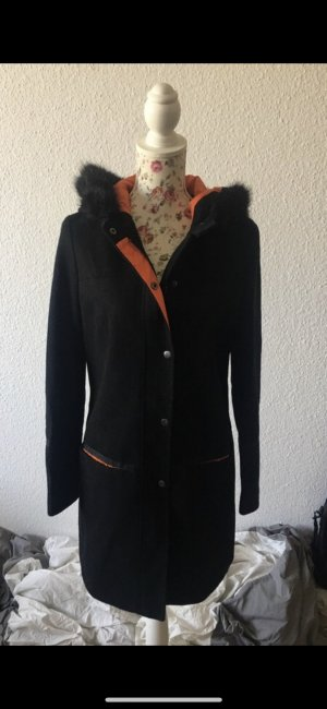 Atmosphere Abrigo con capucha negro-naranja
