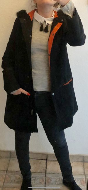 Atmosphere Manteau à capuche noir-orange