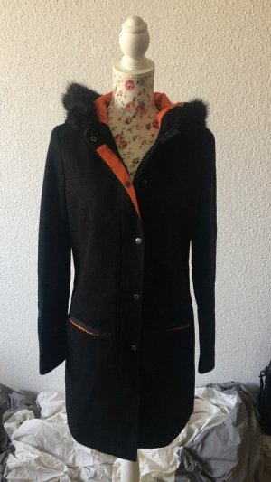Atmosphere Hooded Coat black-orange