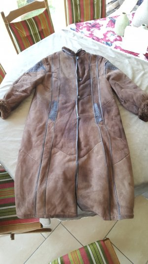 Leather Coat brown-dark brown