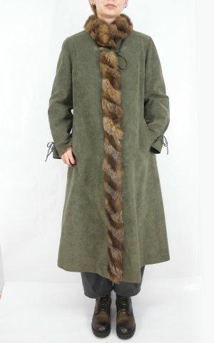 Abrigo de cuero gris verdoso-marrón claro Imitación de cuero