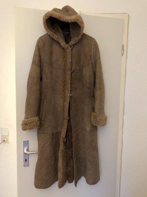 Abrigo de cuero marrón claro Cuero