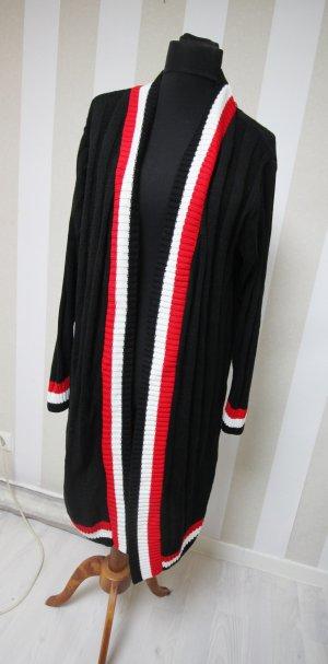 Mantel Longjacke mit Kontrast Streifen Design