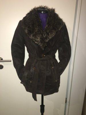 Mantel mit Fell Echtleder Dunkelbraun