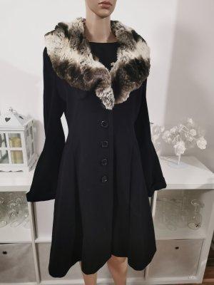 Mantel mit fell Kragen taliert schwarz Kaschmir