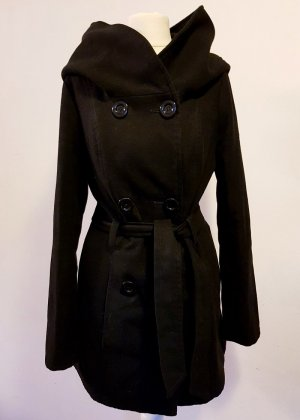 Hooded Coat black wool