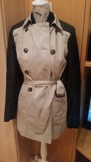 Mantel mit Kunstlederärmel