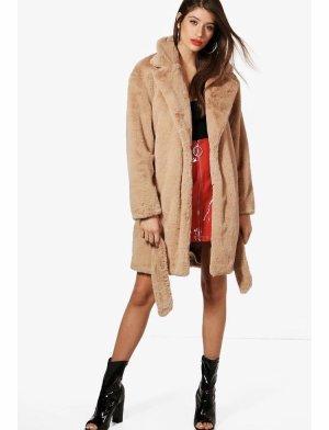 Mantel mit Kunstpelz und Gürtel