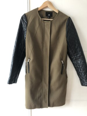 H&M Quilted Coat black-olive green