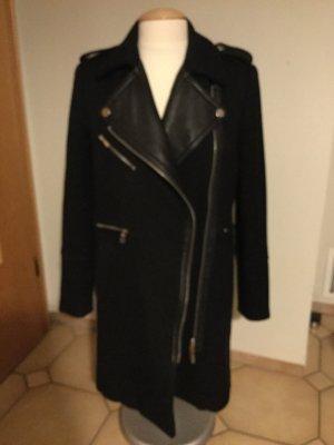 Mantel mit Lederimitat