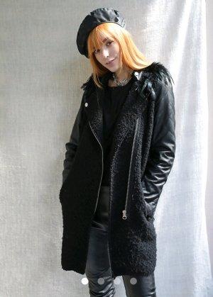 Abrigo de piel sintética negro Imitación de cuero