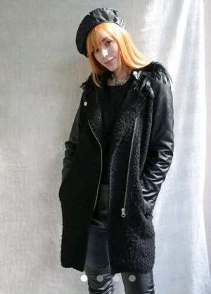 Fake Fur Coat black imitation leather