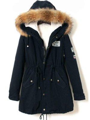 Mantel mit Marderhund-Pelz-Kapuze und Kordelzug, marineblau