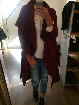 Mantel mit revers / bordeux rot
