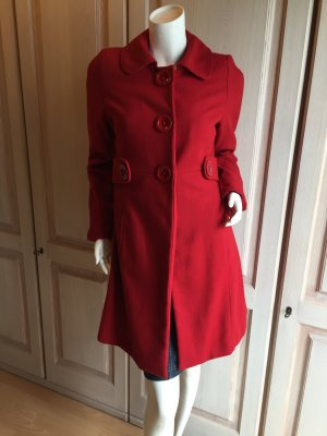 Mantel rot Retro Vintage Style Wollmantel 34
