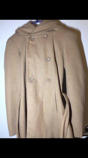 Abrigo con capucha beige-camel