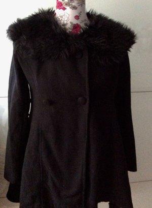 Mantel schwarz Fell fake vintage