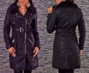 Mantel schwarz mit kunstfell Gr. S-M