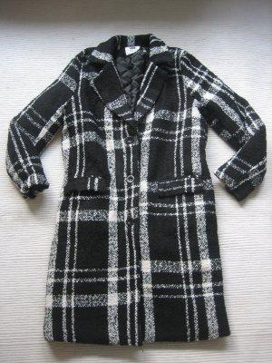 Mantel schwarz weiß Gr.36 s kariert tartan neuwertig warm