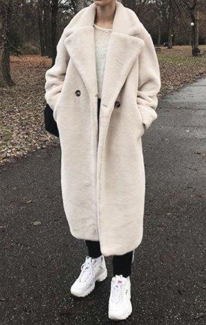 Mantel Teddy Faux Fur Hellbeige Creme Weiß H&M Blogger Liebling Gr. 44