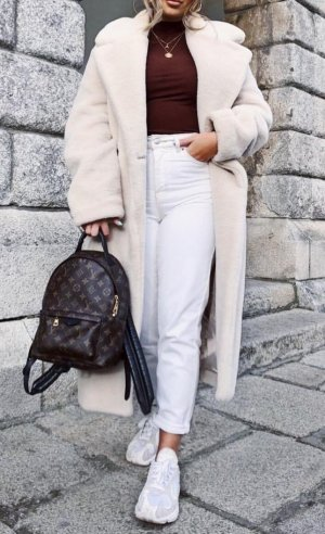 Mantel Teddy Faux Fur Hellbeige H&M Blogger Liebling Gr. 44