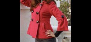 Heavy Pea Coat dark red-red