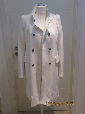 Mantel Uebergangsmantel in leichtem wolligen Stoff in weiss in XL von Zara pastel