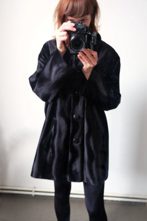 mantel velours teddy schwarz oversize
