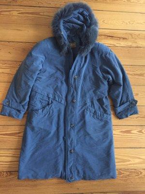 Mantel Vintage-schnitt mit echtem Pelzkragen, blau,M/L
