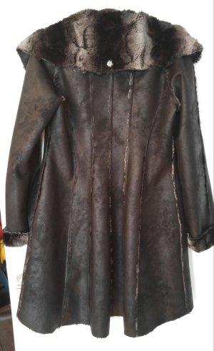 Anja Gockel Cappotto in eco pelliccia nero-grigio Finta pelle