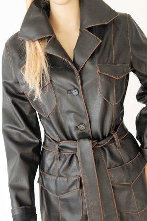 Bamboo Manteau en cuir noir-bronze