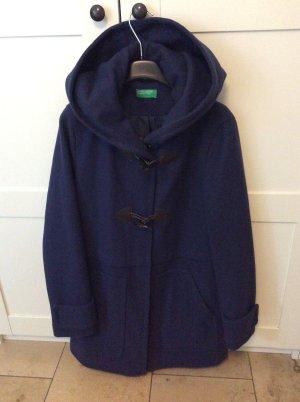 Benetton Manteau à capuche bleu polyester