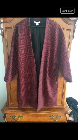 H&M Manteau oversized noir-rouge