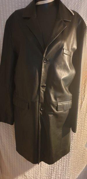 Hallhuber Abrigo de cuero negro Cuero