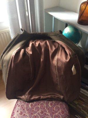 Mantel von Massimo Dutti mit Fellkragen und Lederapplikationen / Pelz