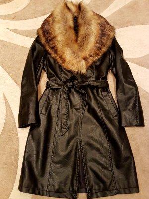 Melrose Abrigo de cuero negro Imitación de cuero