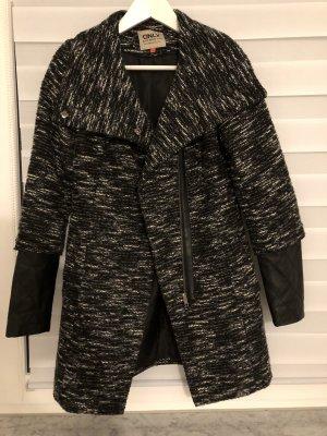 Only Cappotto in pile nero-grigio