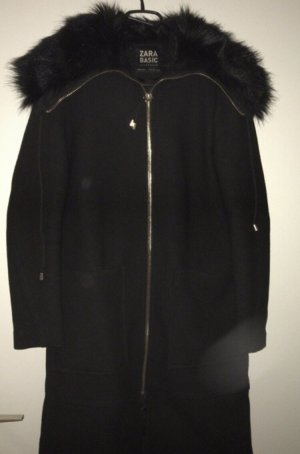 Zara Fake Fur Coat black