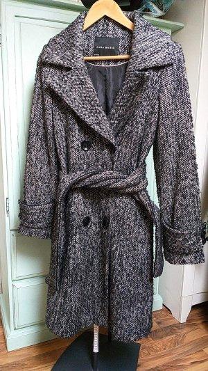 Zara Basic Winter Coat white-black