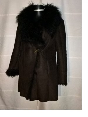 Zara Basic Winter Coat brown fake fur