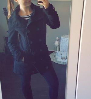 Mantel warm Winter schwarz Knopfreihe M Jacke Kapuze