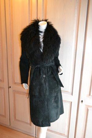 Mantel Wildleder Fell Kragen abnehmbar schwarz Leder Retro Stil