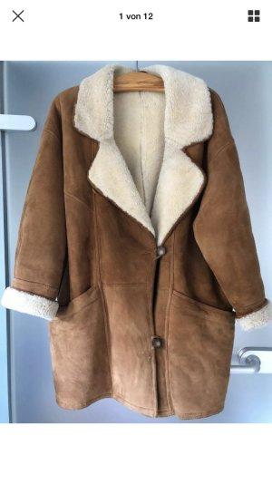 Mantel Wildleder mit echtem Lammfell